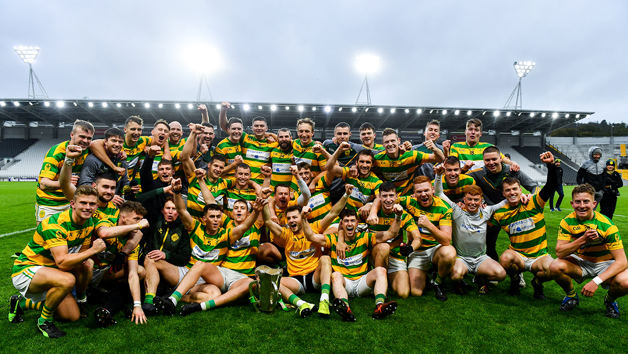 Blackrock players celebrbate with the Sean Óg Murphy Cup following the Cork County Premier Senior Club Hurling Championship Final match between Glen Rovers and Blackrock at Páirc Ui Chaoimh in Cork.