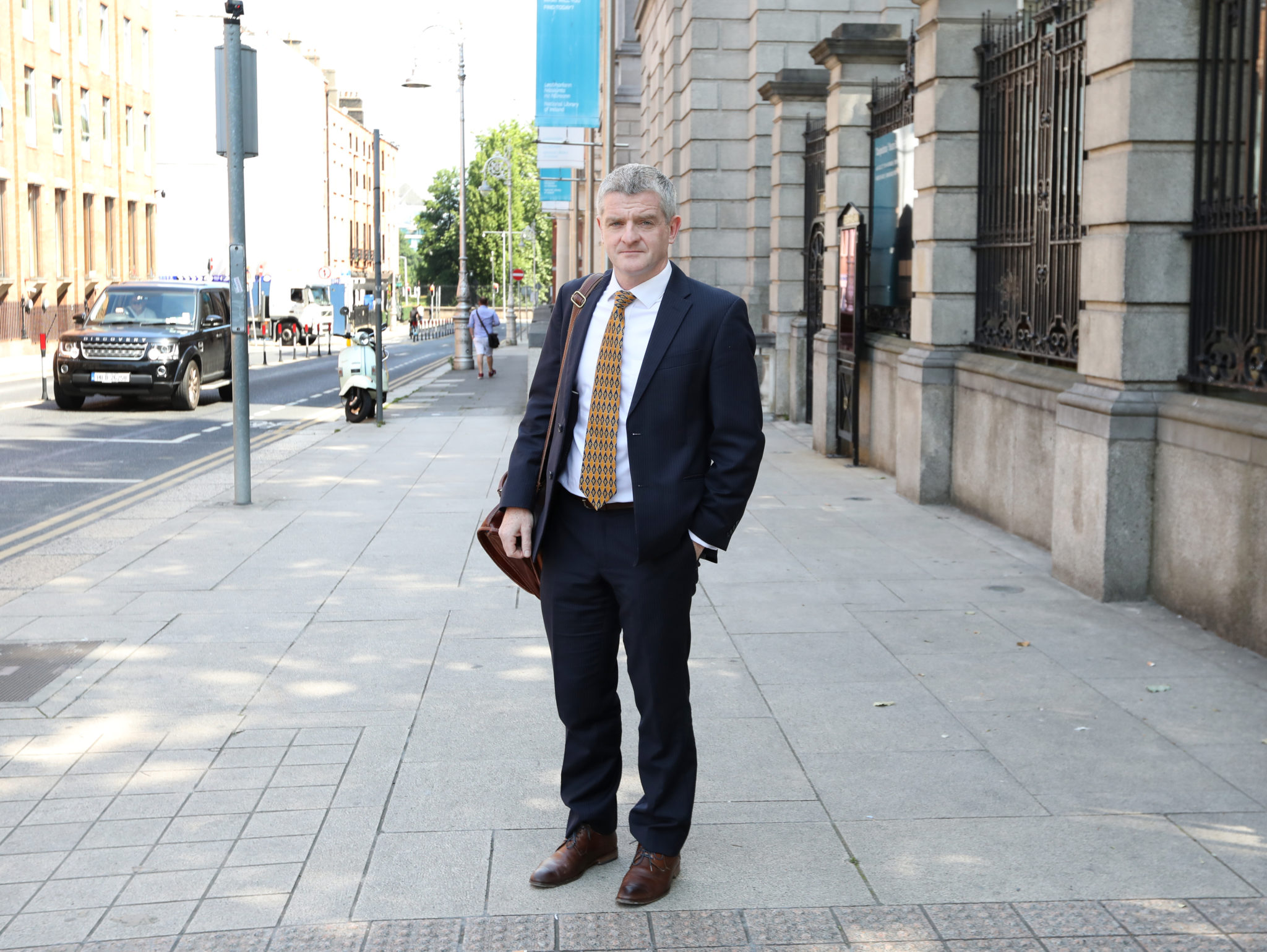 UCD Professor Paddy Mallon leaving the Dáil after reporting to the Oireachtas Special Committee on COVID-19