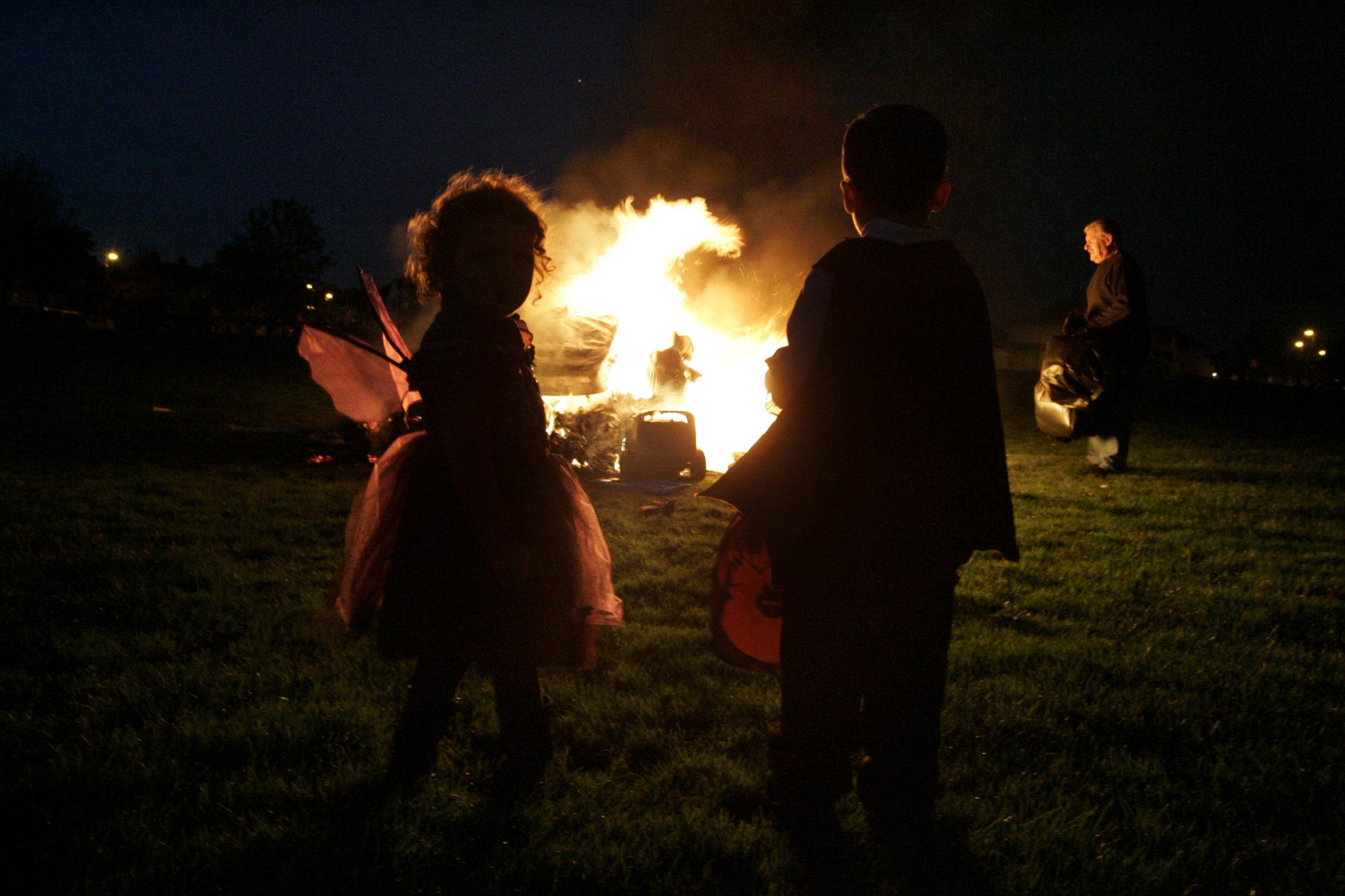 A Halloween bonfire in the Crumlin area of Dublin