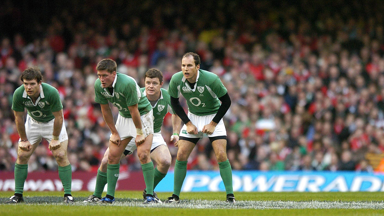 The Irish backline, from left, Gordon D'Arcy, Ronan O'Gara, Brian O'Driscoll and Girvan Dempsey get ready to break forward as soon as the ball comes out of a scrum. RBS Six Nations Championship, Wales v Ireland, Millennium Stadium, Cardiff, Wale