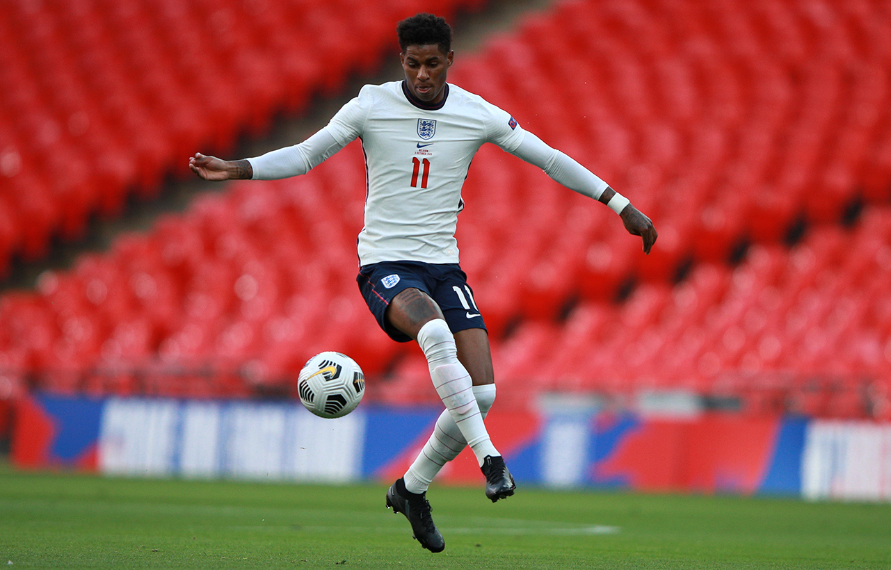 England's Marcus Rashford controls the ball during the UEFA Nations League soccer match between England and Belgium at Wembley stadium in London
