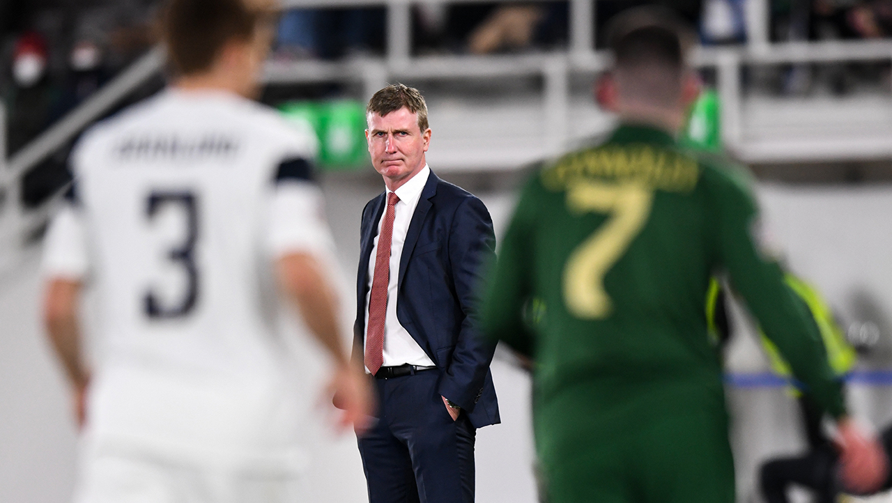 Republic of Ireland manager Stephen Kenny during the UEFA Nations League B match between Finland and Republic of Ireland at Helsingin Olympiastadion in Helsinki, Finland.