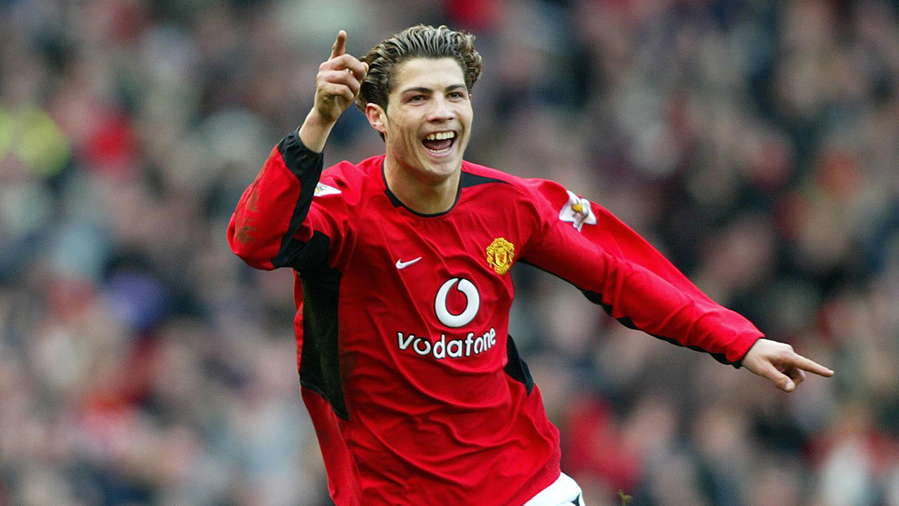 Manchester United's Cristiano Ronaldo celebrates scoring against Tottenham Hotspur, during their Barclaycard Premiership match at Old Trafford, Manchester Stadium. Manchester United won 3-0.