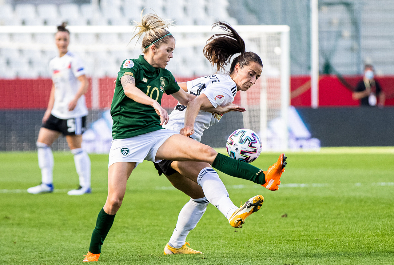Denise O'Sullivan of Republic of Ireland in action against Sara Däbritz of Germany during the UEFA Women's 2021 European Championships Qualifier Group I match between Germany and Republic of Ireland at Stadion Essen in Essen, Germany.