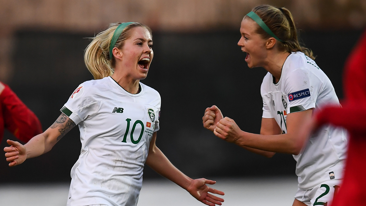 Denise O'Sullivan of Republic of Ireland celebrates after scoring her side's third goal with team-mate Ruesha Littlejohn, right, during the UEFA Women's 2021 European Championships Qualifier match between Montenegro and Republic of Ireland at Pod Malim Brdom in Petrovac, Montenegro.