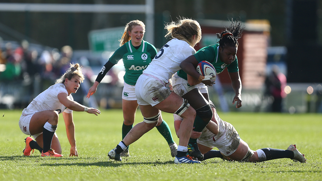 Linda Djougang of Ireland in action during the Women's Six Nations Rugby Championship match between England and Ireland at Castle Park in Doncaster, England. 20x20