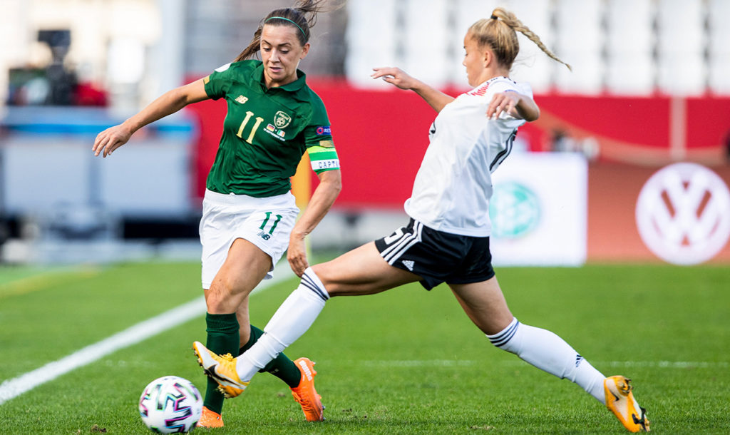 Katie McCabe of Republic of Ireland in action against Giulia Gwinn of Germany during the UEFA Women's 2021 European Championships Qualifier Group I match between Germany and Republic of Ireland at Stadion Essen in Essen, Germany