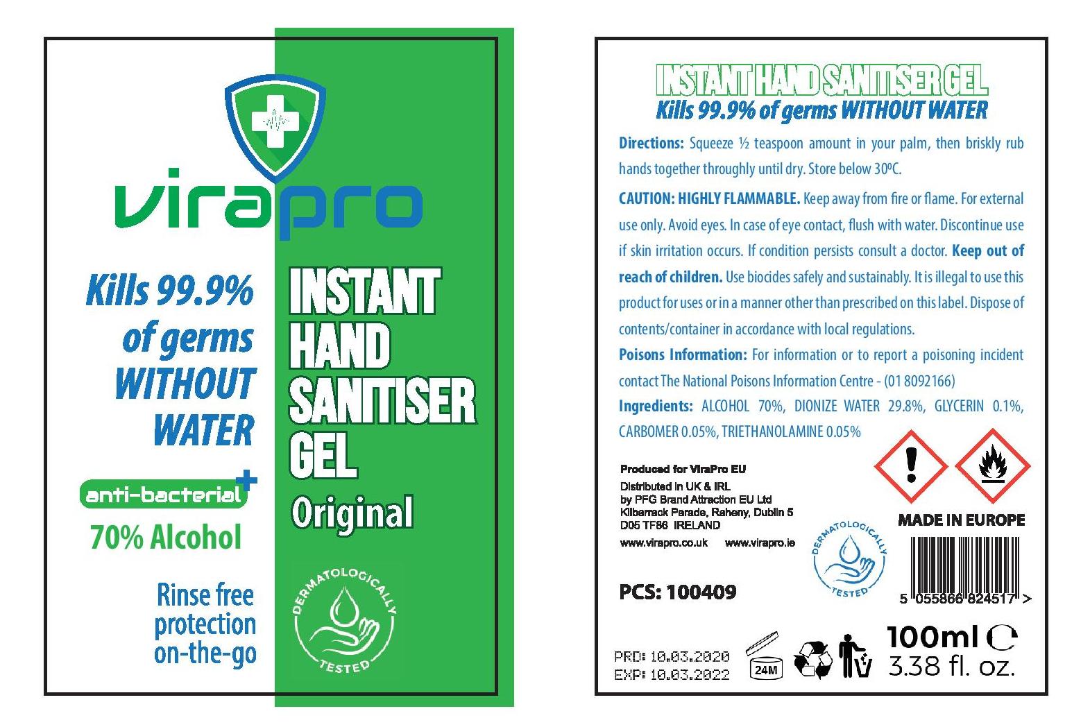 ViraPro Hand Sanitiser label