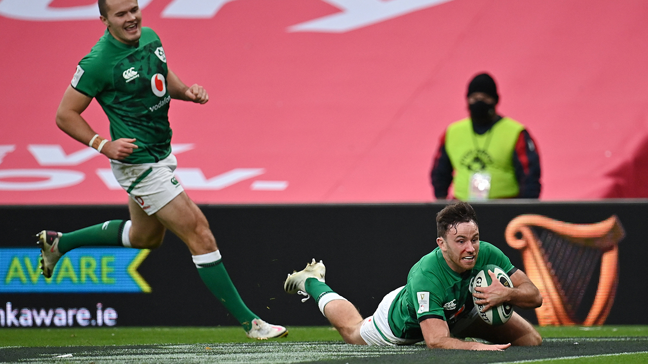 Hugo Keenan of Ireland dives over to score his side's third try, which was subsequently disallowed, during the Guinness Six Nations Rugby Championship match between Ireland and Italy at the Aviva Stadium in Dublin