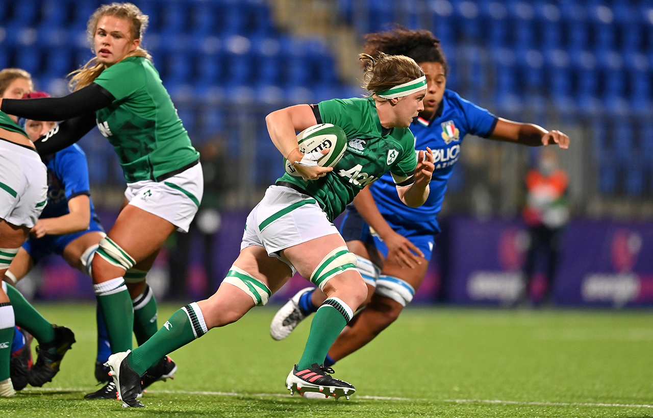 Ciara Griffin of Ireland makes a break during the Women's Six Nations Rugby Championship match between Ireland and Italy at Energia Park in Dublin. Due to current restrictions laid down by the Irish government to prevent the spread of coronavirus and to adhere to social distancing regulations, all sports events in Ireland are currently held behind closed doors.
