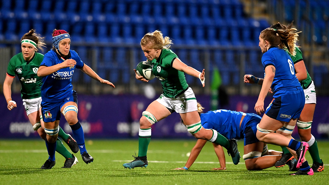 Claire Molloy of Ireland makes a break during the Women's Six Nations Rugby Championship match between Ireland and Italy at Energia Park in Dublin. Due to current restrictions laid down by the Irish government to prevent the spread of coronavirus and to adhere to social distancing regulations, all sports events in Ireland are currently held behind closed doors.