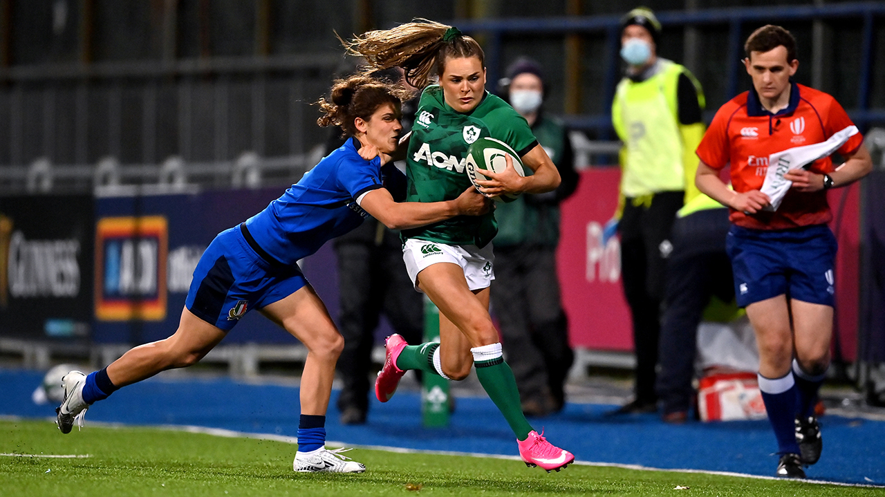 Béibhinn Parsons of Ireland in action against Aura Muzzo of Italy during the Women's Six Nations Rugby Championship match between Ireland and Italy at Energia Park in Dublin. Due to current restrictions laid down by the Irish government to prevent the spread of coronavirus and to adhere to social distancing regulations, all sports events in Ireland are currently held behind closed doors.