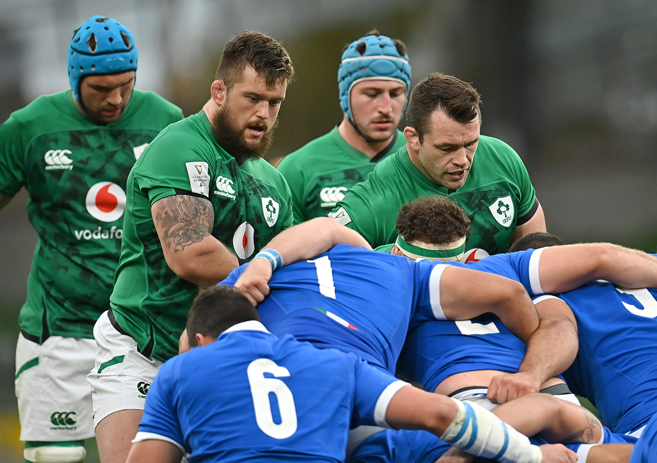 Andrew Porter, left, and Cian Healy of Ireland during the Guinness Six Nations Rugby Championship match between Ireland and Italy at the Aviva Stadium in Dublin. Due to current restrictions laid down by the Irish government to prevent the spread of coronavirus and to adhere to social distancing regulations, all sports events in Ireland are currently held behind closed doors.