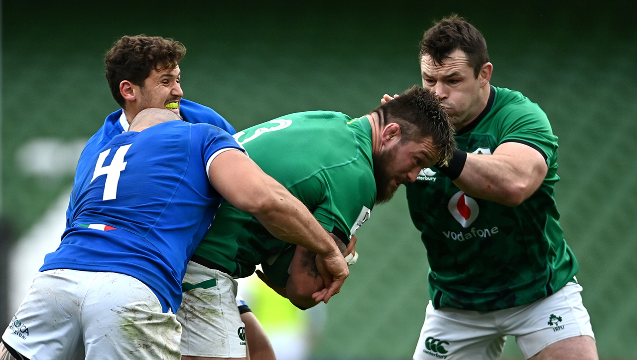 Andrew Porter of Ireland is tackled by Marco Lazzaroni of Italy during the Guinness Six Nations Rugby Championship match between Ireland and Italy at the Aviva Stadium in Dublin