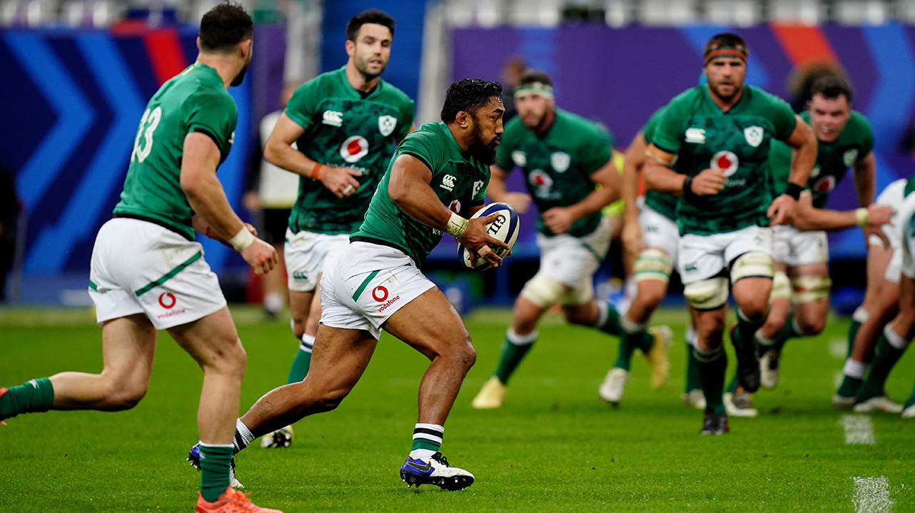 Bundee Aki of Ireland makes a break during the Guinness Six Nations Rugby Championship match between France and Ireland at Stade de France in Paris, France.