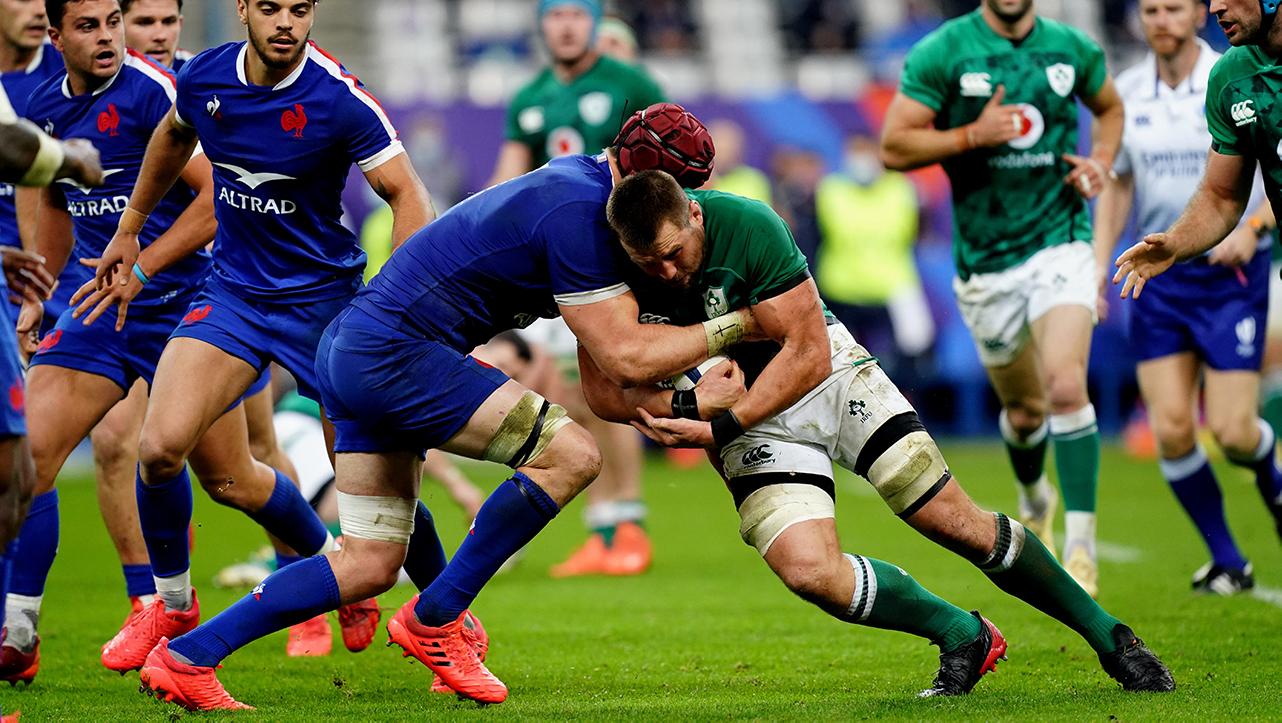 CJ Stander shoulder tackle for Ireland