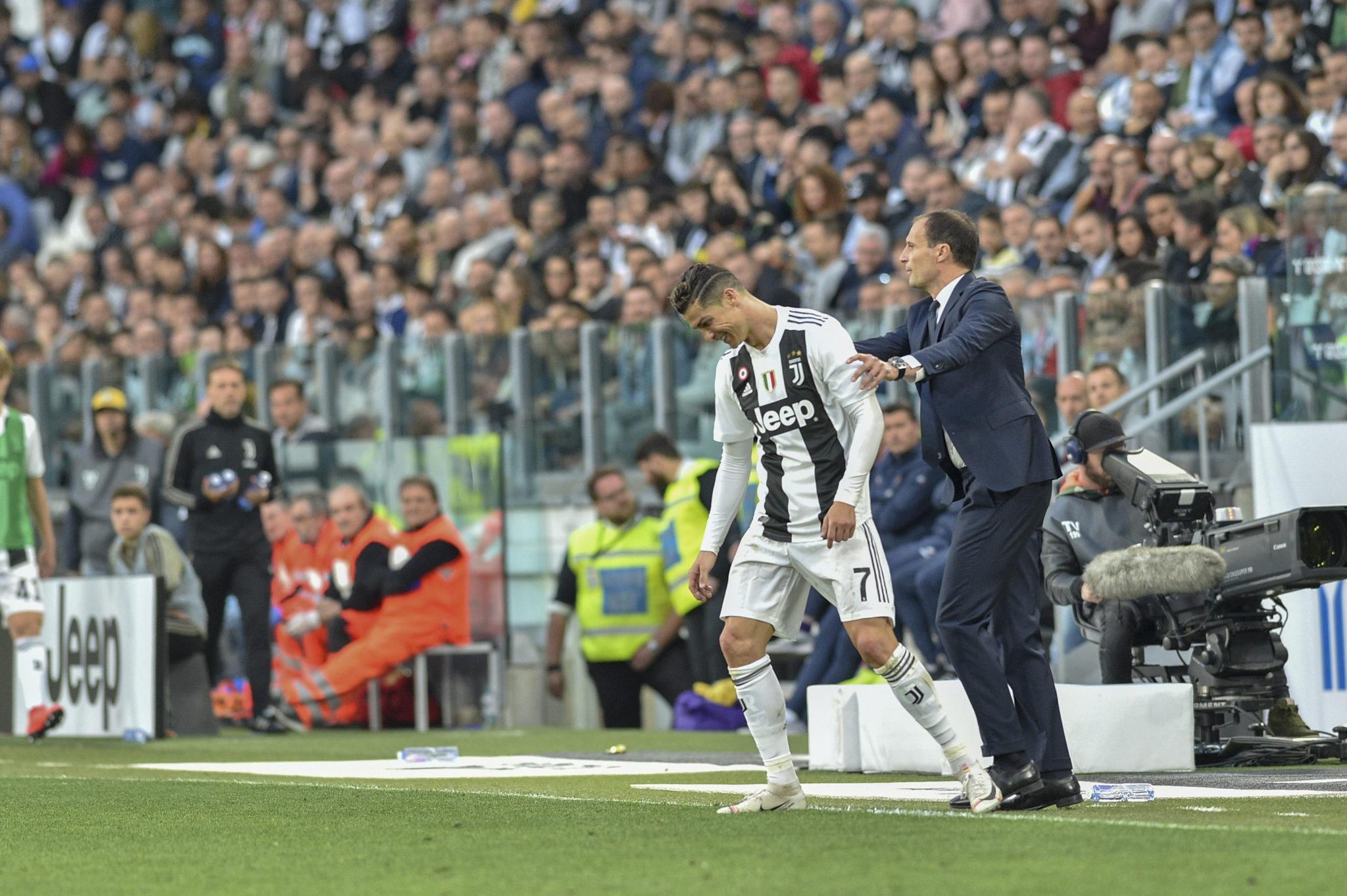 Max Allegri and Cristiano Ronaldo at the Juventus stadium.