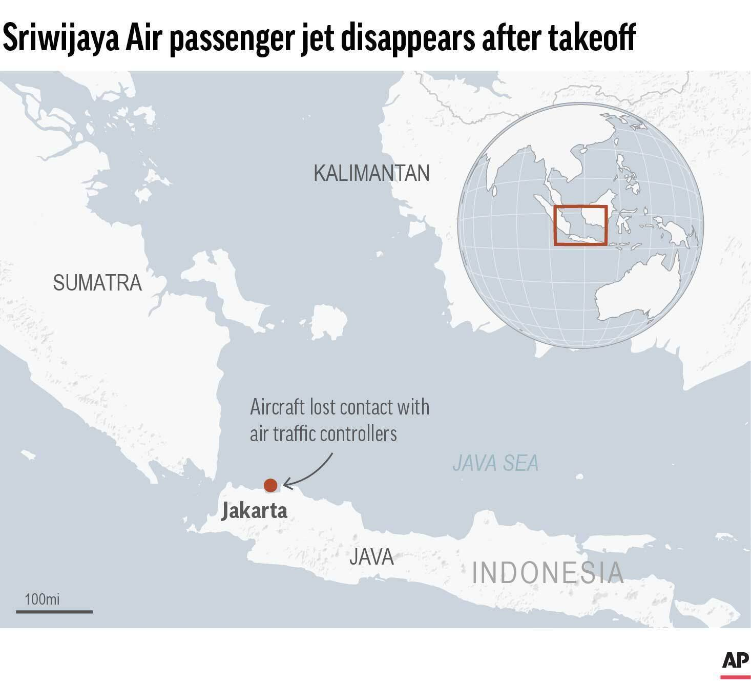 Indonesian Sriwijaya Air plane loses contact after taking off from Jakarta