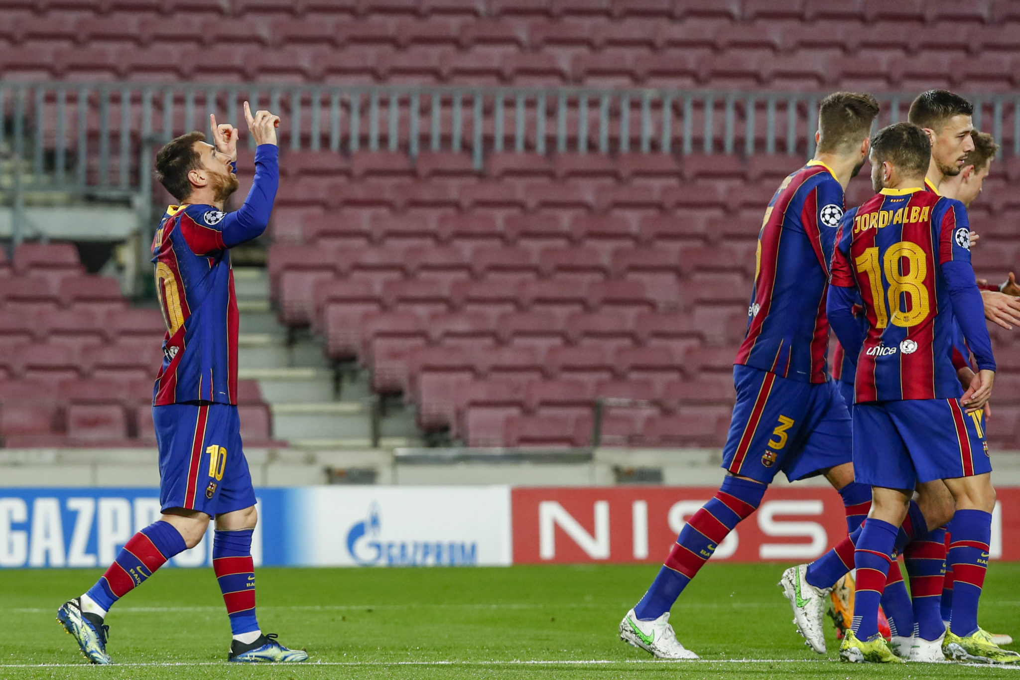 Messi celebrates after scoring against PSG