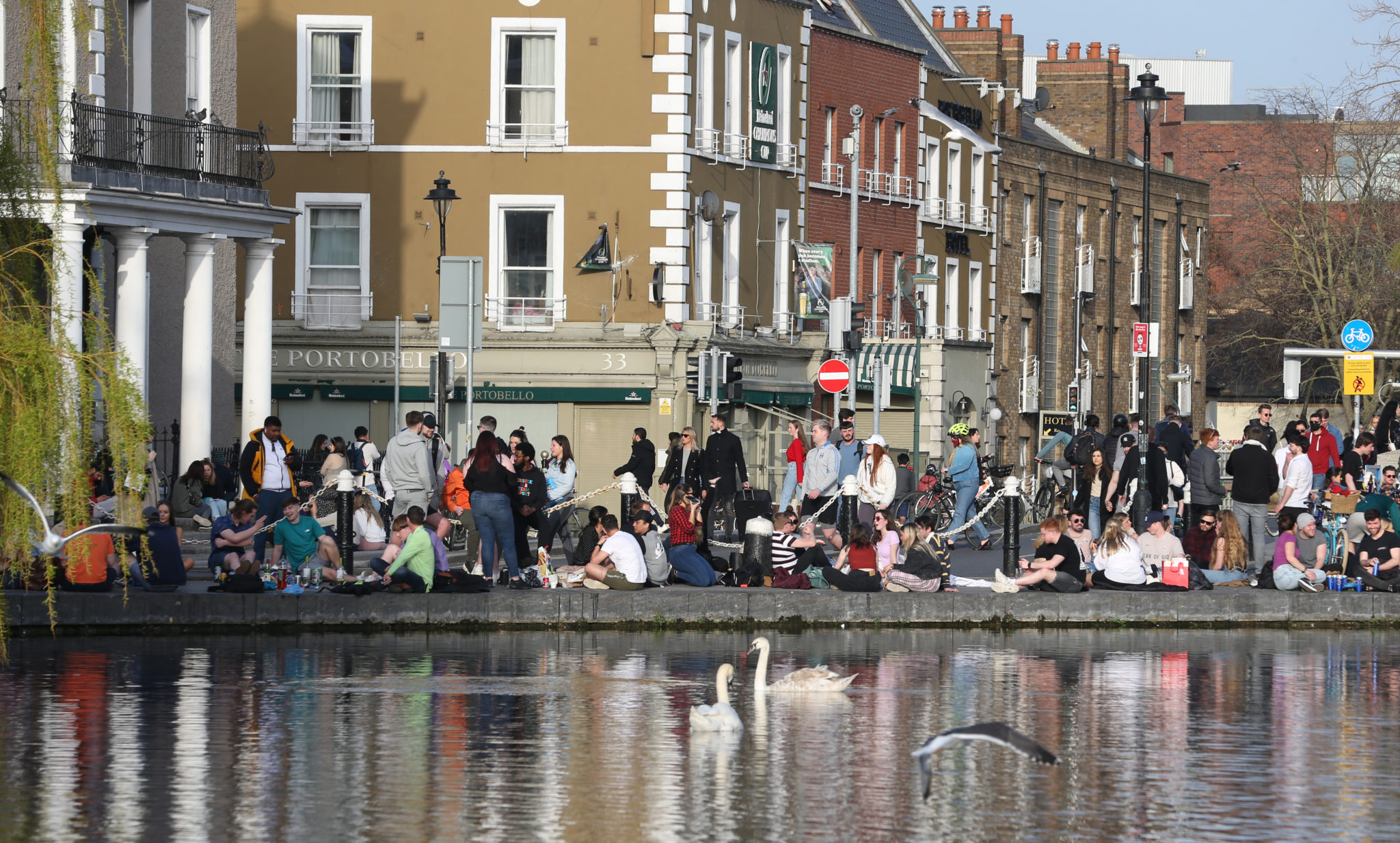 Large crowds of people in the sunny weather at Dublin's Portobello on Tuesday