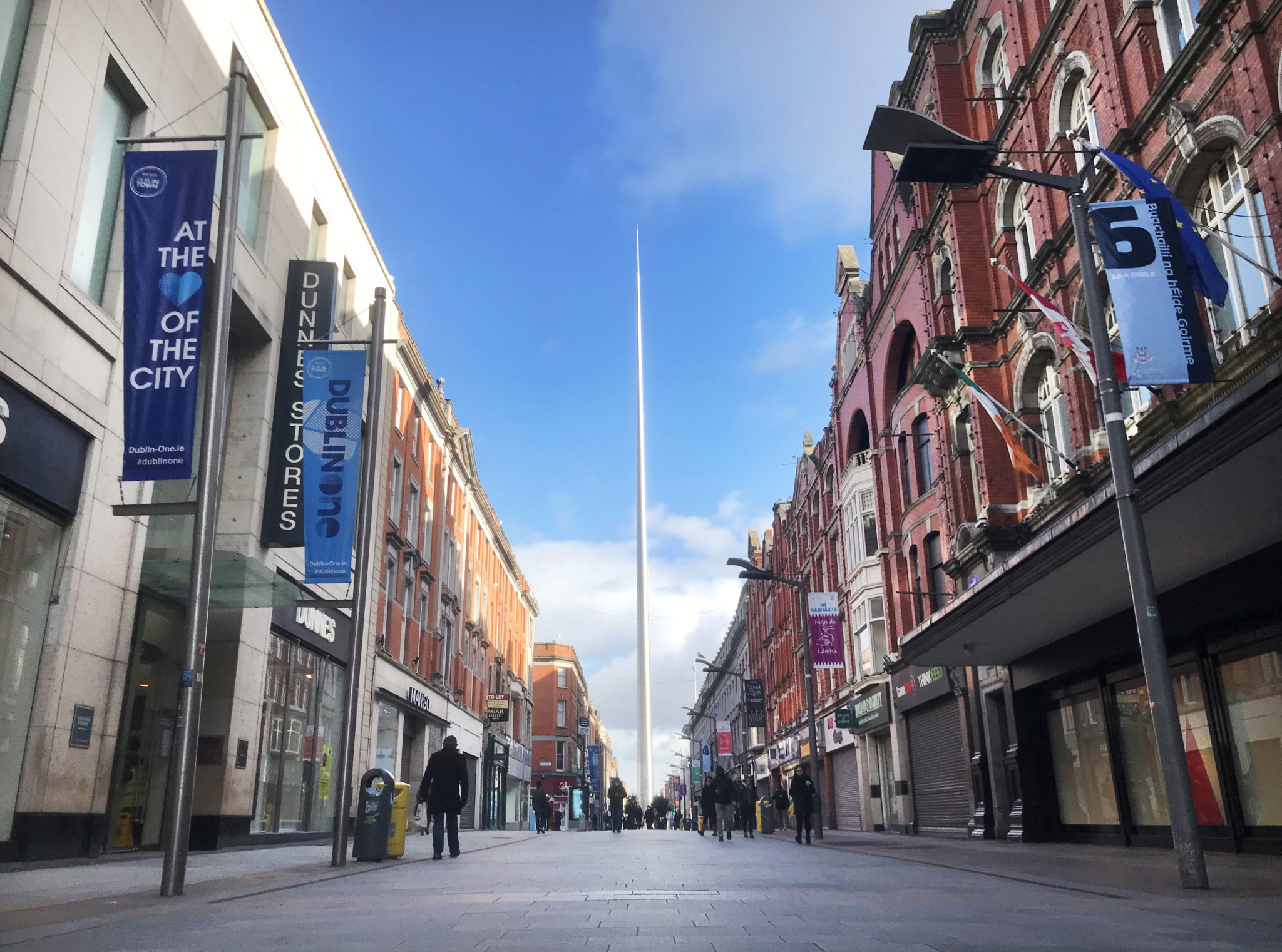 A nearly empty Henry Street in Dublin during level five restrictions