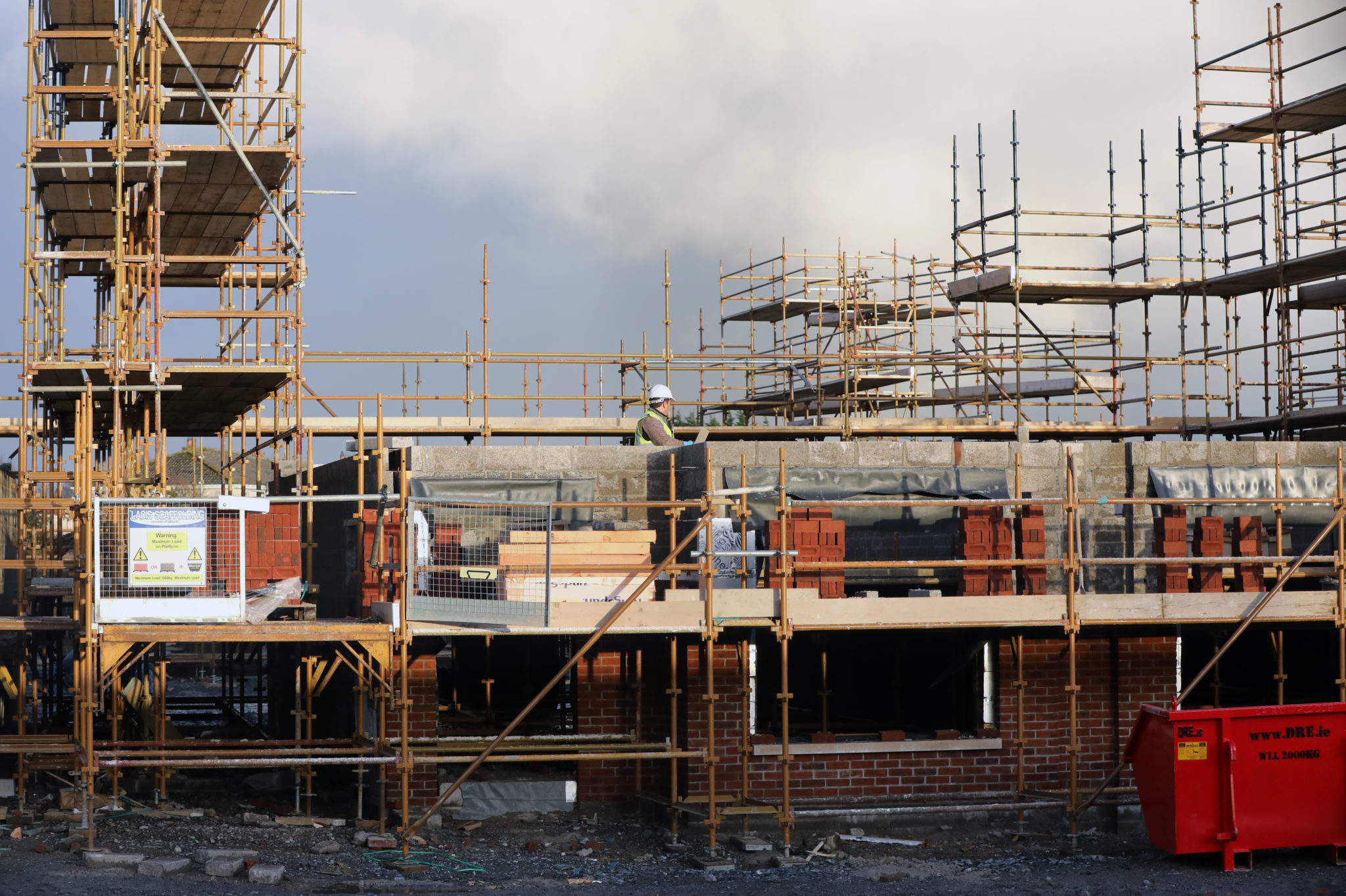 Building workers on scaffolds at a housing estate at Naas Co Kildare