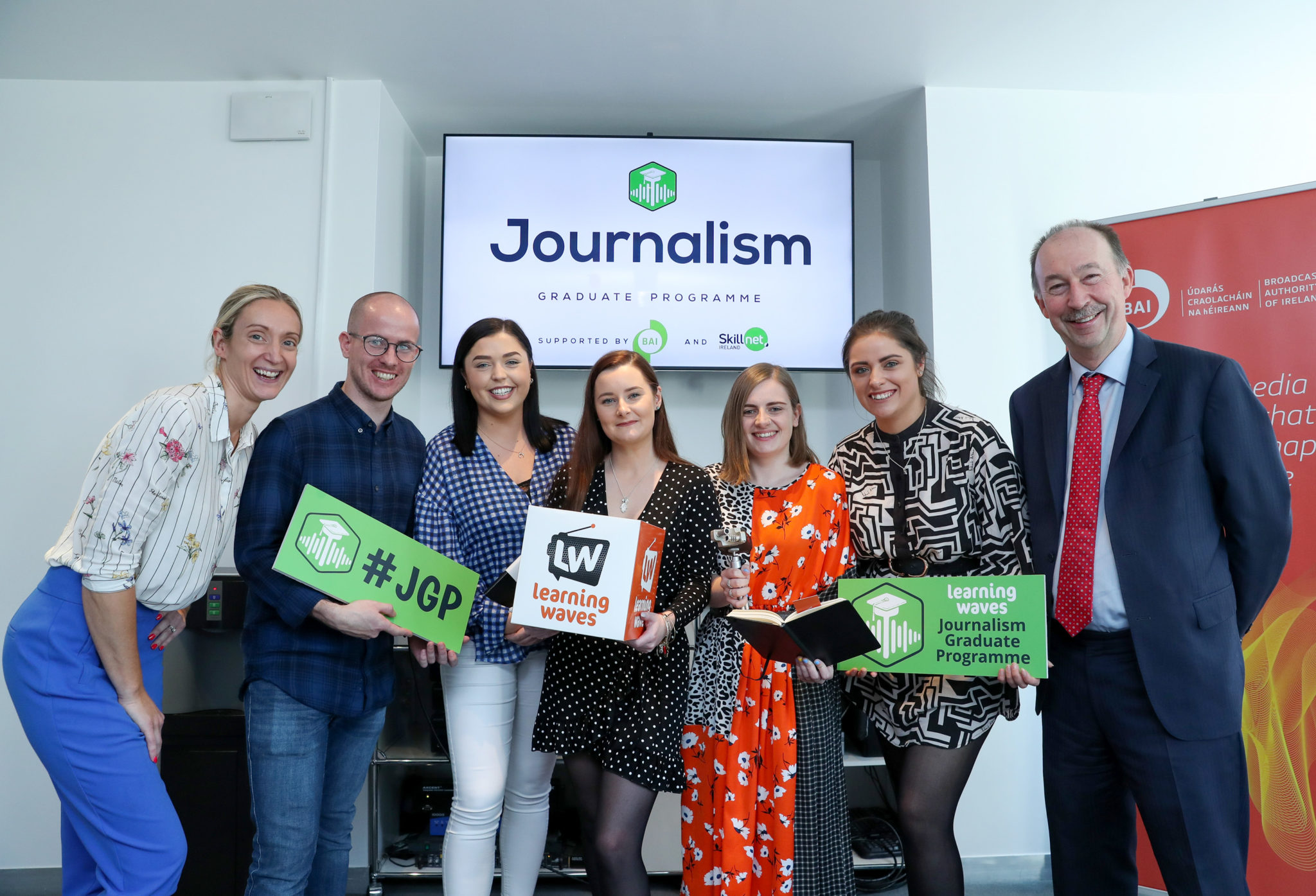 2019 graduates pictured with Lena Murphy, Learning Waves chairperson, and Michael O'Keeffe, CEO of the Broadcasting Authority of Ireland