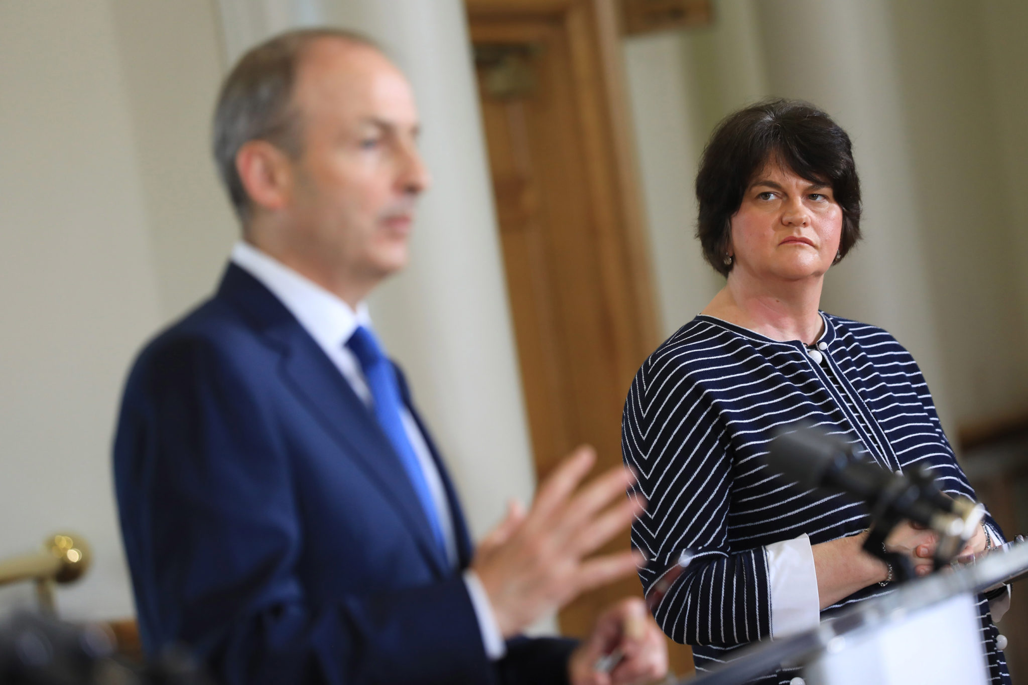 Taoiseach Micheál Martin and Arlene Foster at a press briefing after a North-South Ministerial Council meeting in Dublin Castle in July 2020