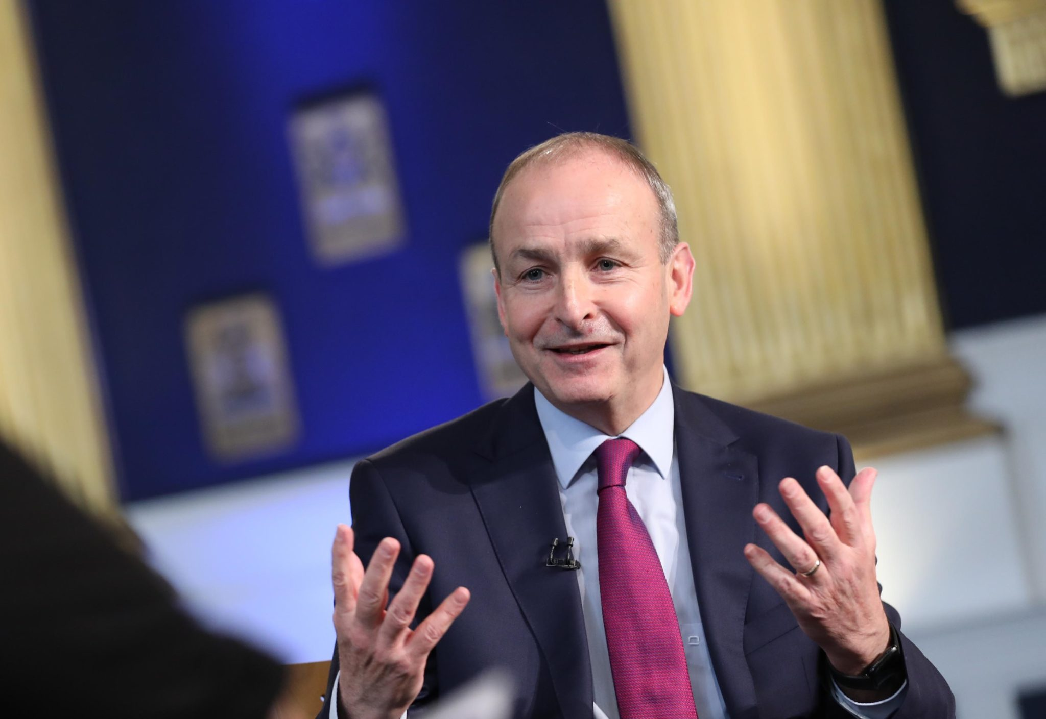 Taoiseach Michael Martin at a moderated Q&A at Dublin Castle, following an address on the Shared Island initiative in October 2020