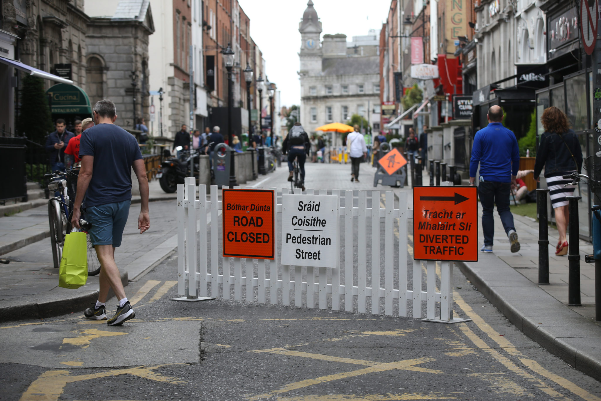 Dublin's South William Street is seen with pedestrianisation signs in August 2020.