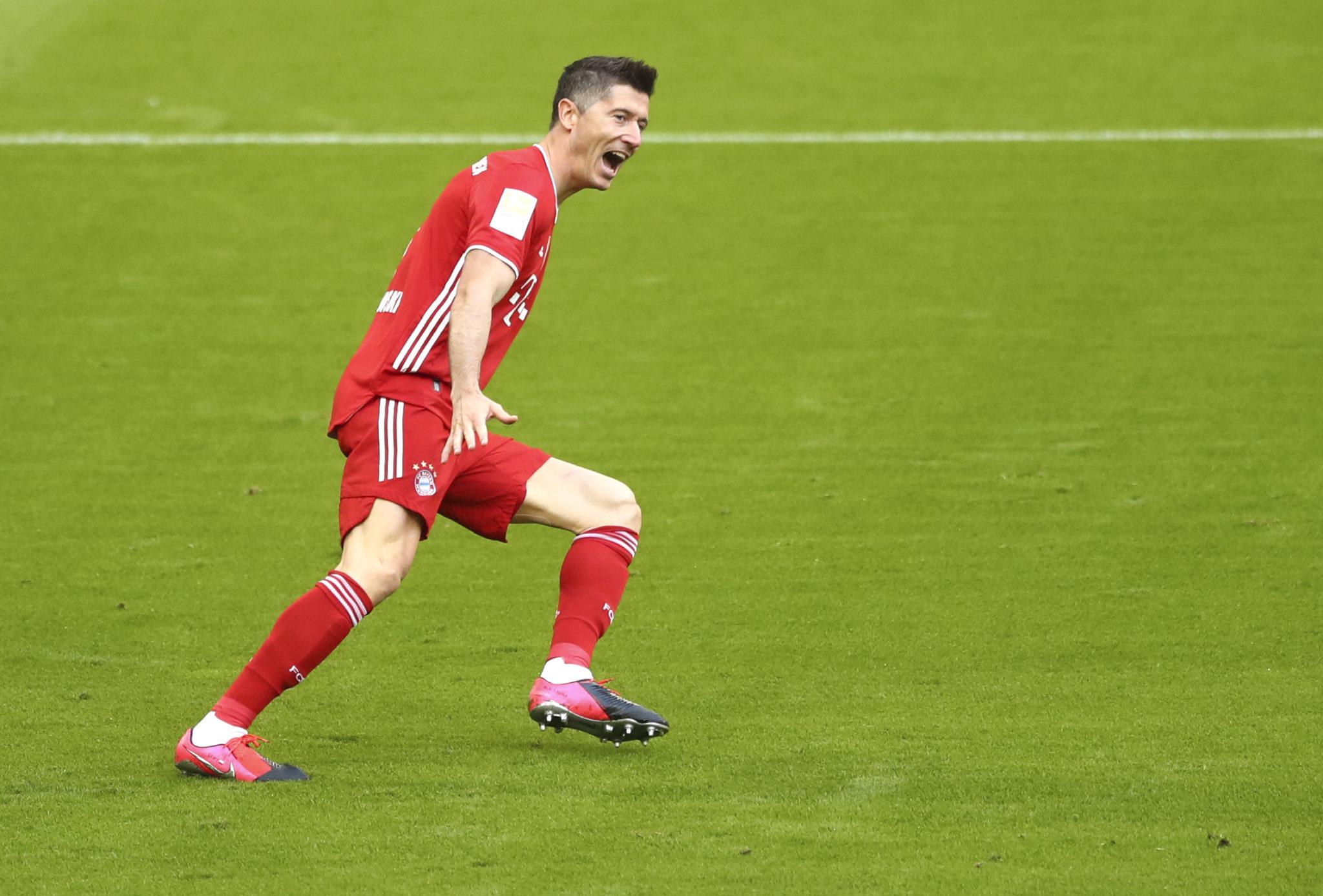 Bayern Munich striker, Robert Lewandowski celebrates