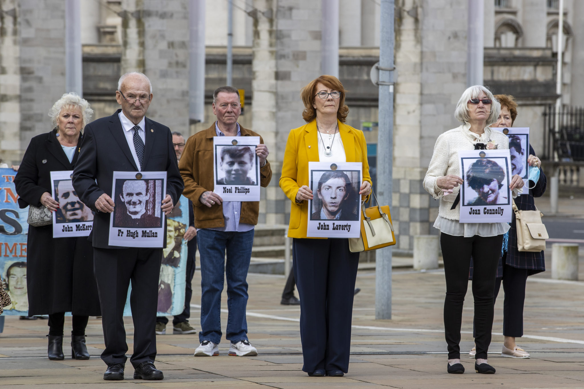 Families of people who were killed at Ballymurphy arrive the International Convention Centre in Belfast