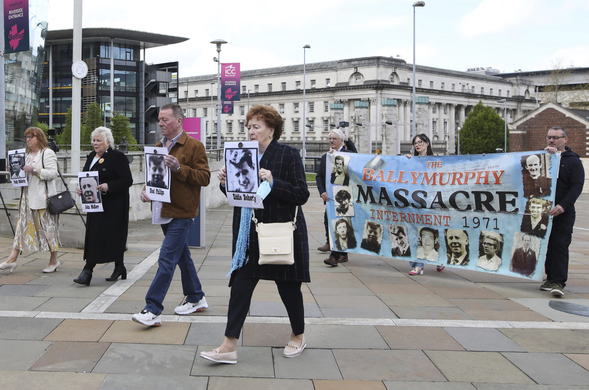 Relatives arrive for the inquest into the Ballymurphy Massacre