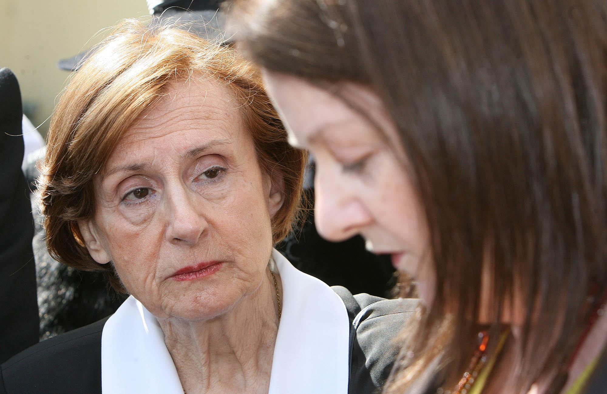 Marguerite Bouniol, mother of Sophie Toscan du Plantier, listens to the prayers of Anne Delcassian - sister of Dundalk woman Irene White - during a special vigil to remember more than 120 women killed violently in Ireland in April 2007.