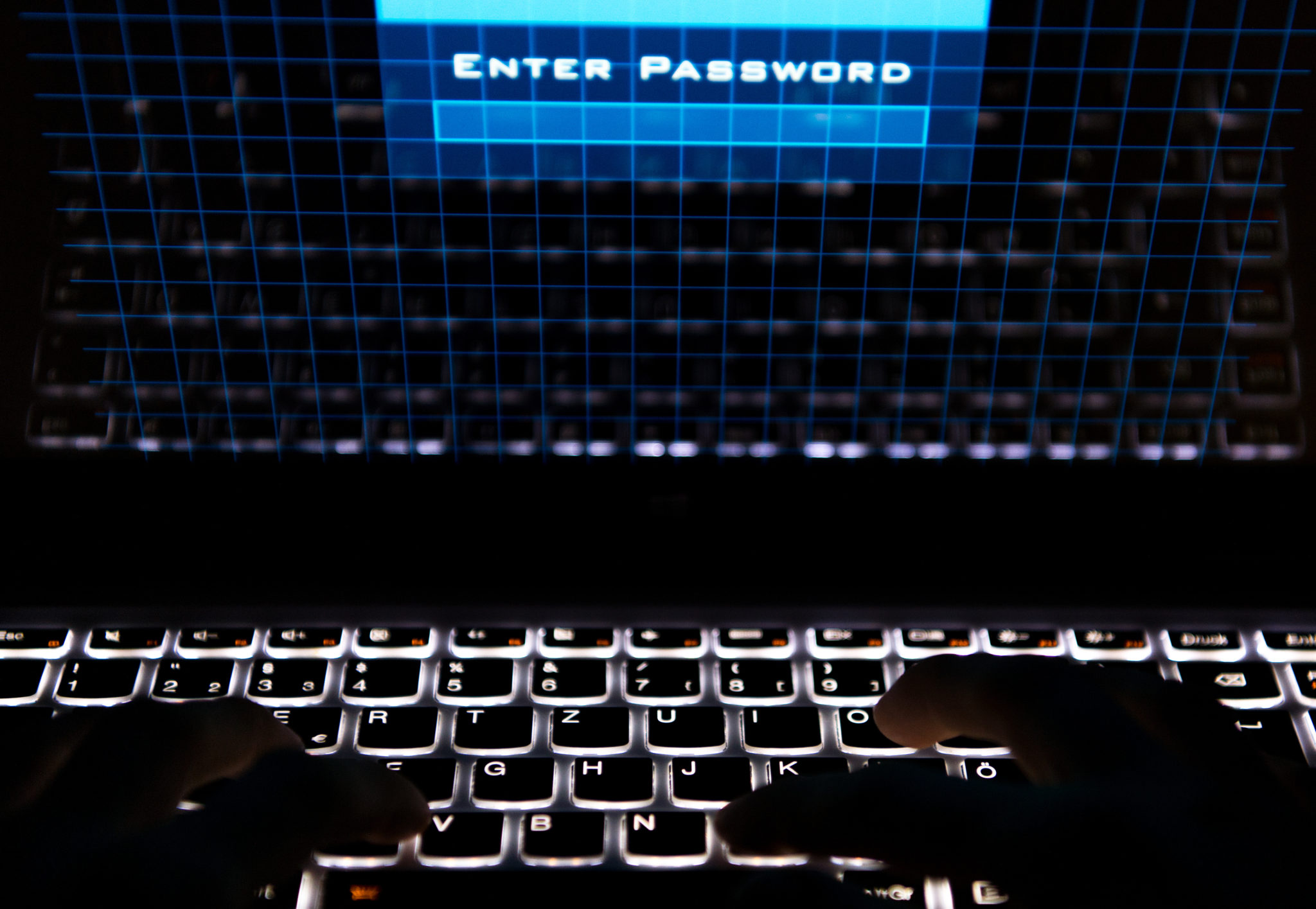 """Two hands type on a keyboard while the screen shows the words """"Enter Password""""in Berlin, Germany in 2017"""