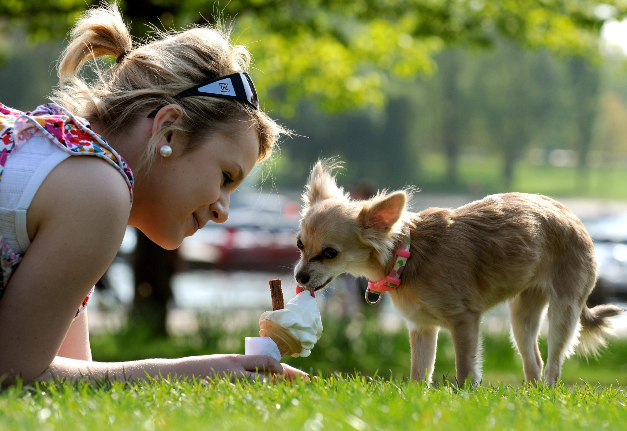 Sophie Parrish and her dog Tia eat an ice cream