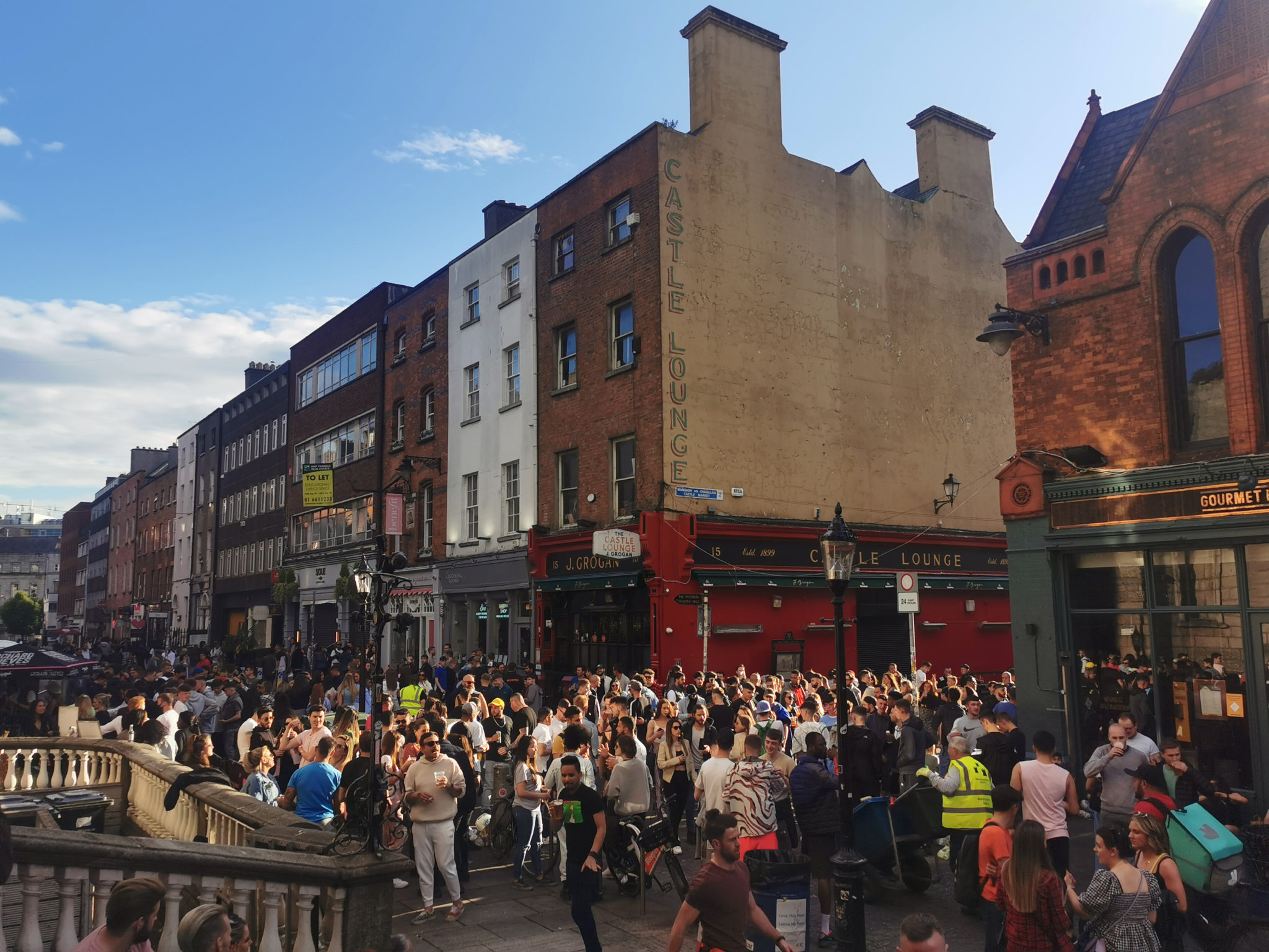People enjoying a drink on South William Street this evening
