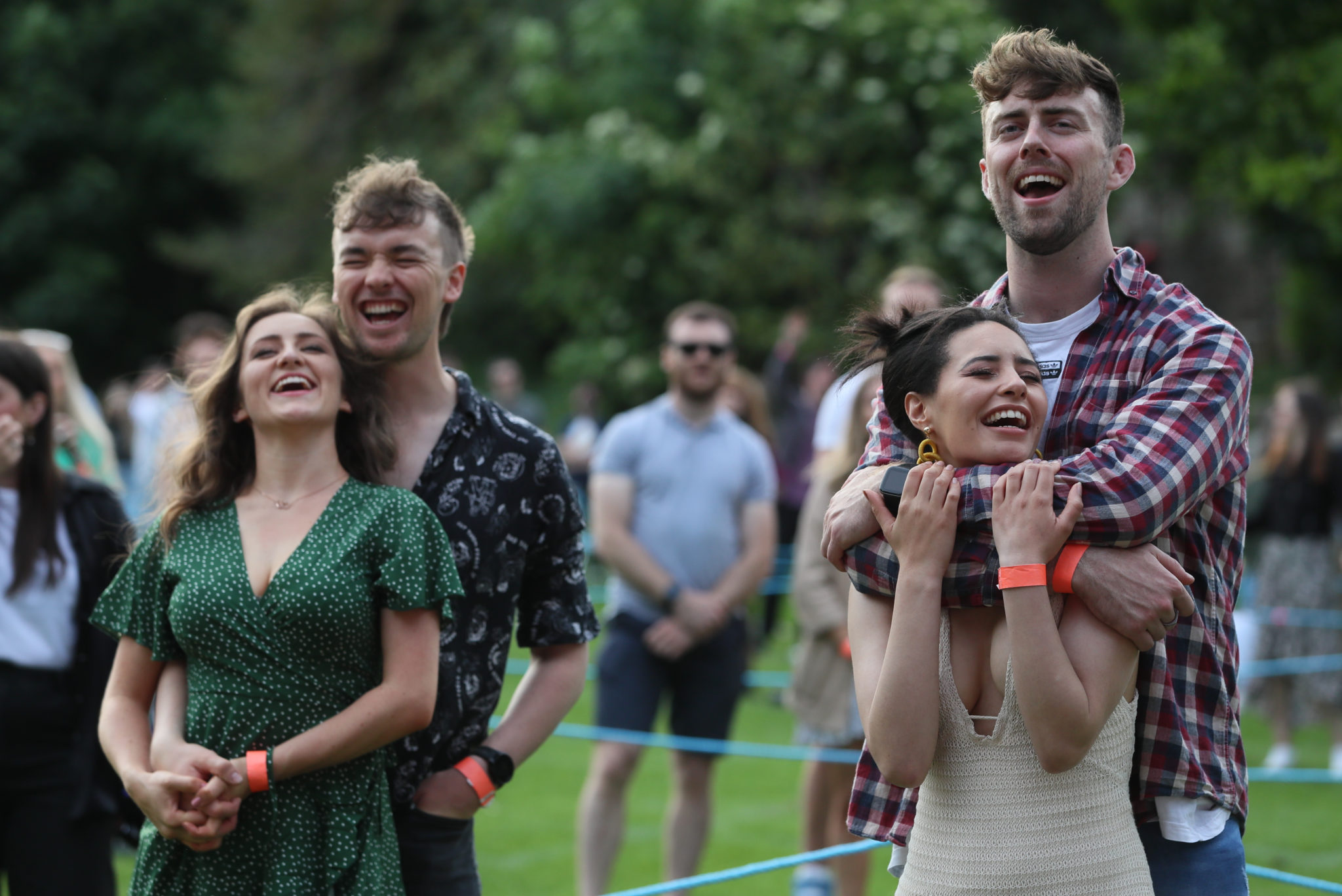 People watch James Vincent McMorrow on stage at Iveagh Gardens during Ireland's first major live gig since the pandemic began