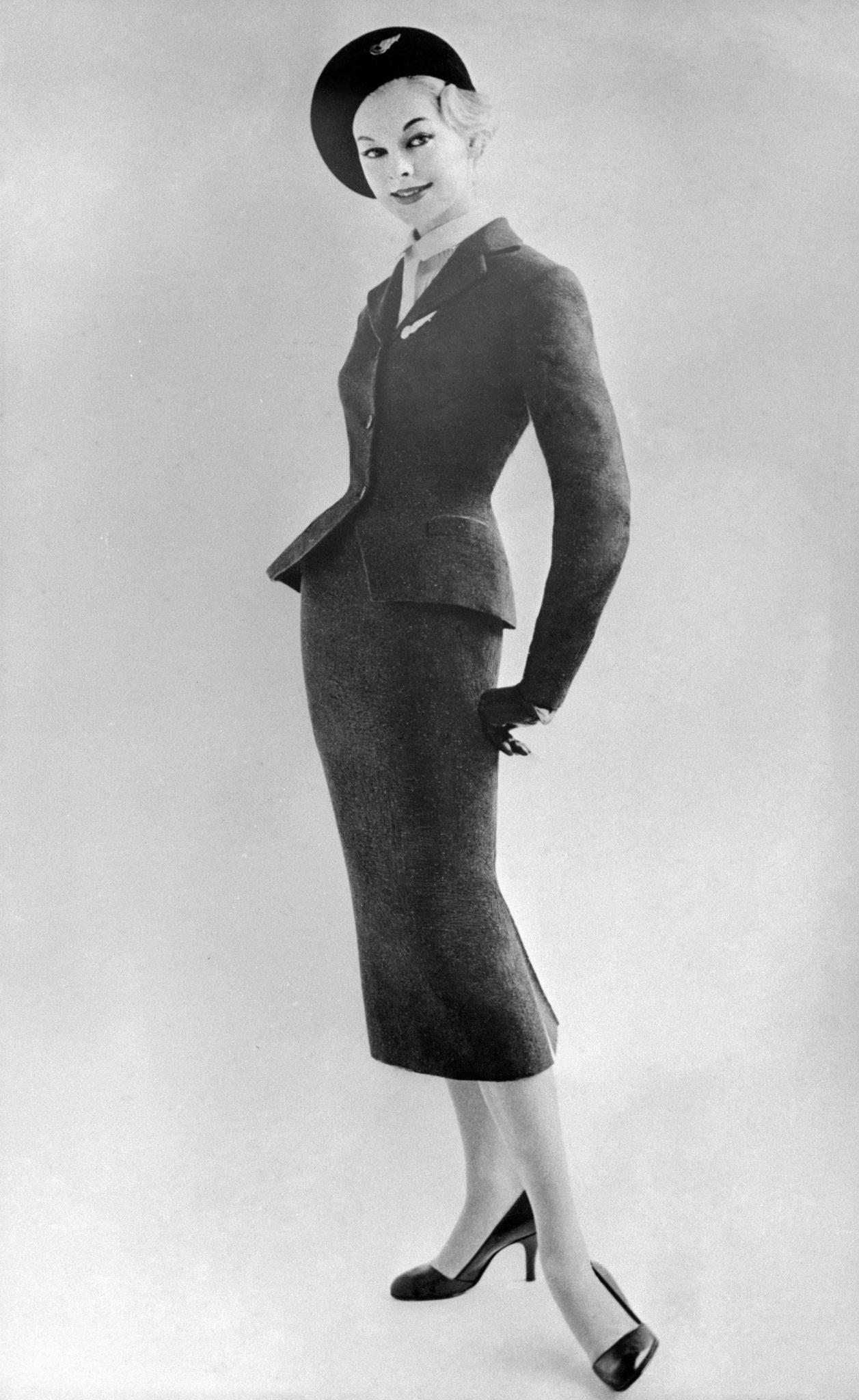 An Aer Lingus air hostess wearing a tweed uniform in 1957.