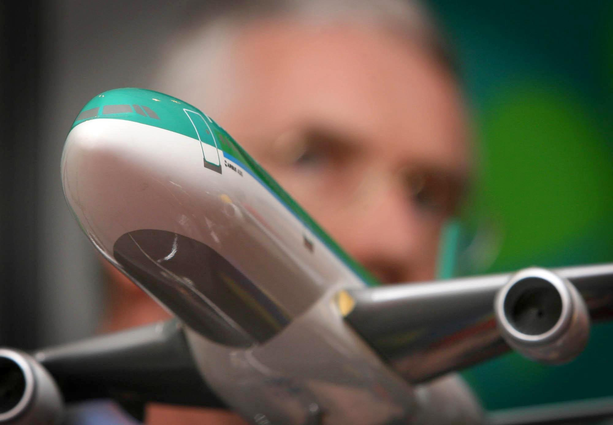 Then-Aer Lingus CEO Dermott Manion speaking at a press conference in Dublin in 2006.