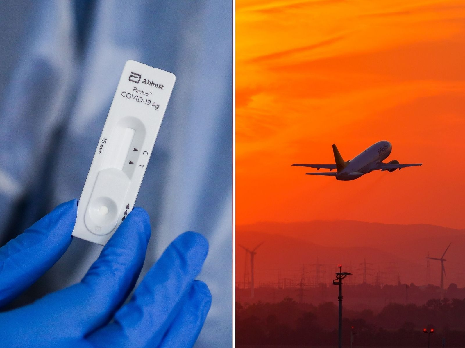 Composite image shows a rapid-result Covid-19 antigen test in Bordeaux, France and a Boeing 737 airplane at Vienna Airport in Austria.
