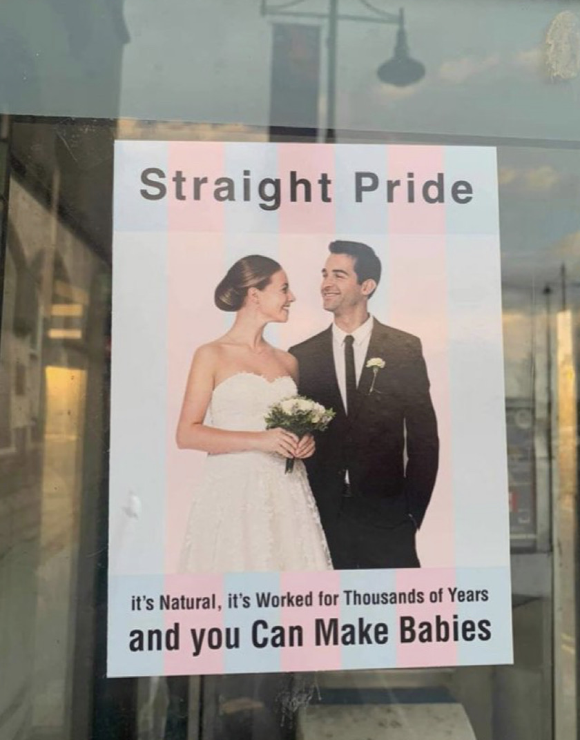 One of the posters put up in Waterford city for 'Straight Pride'