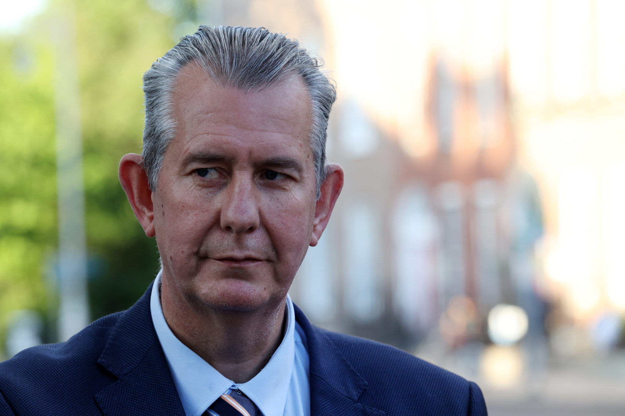 Edwin Poots speaking to the media after leaving Government Buildings in Dublin