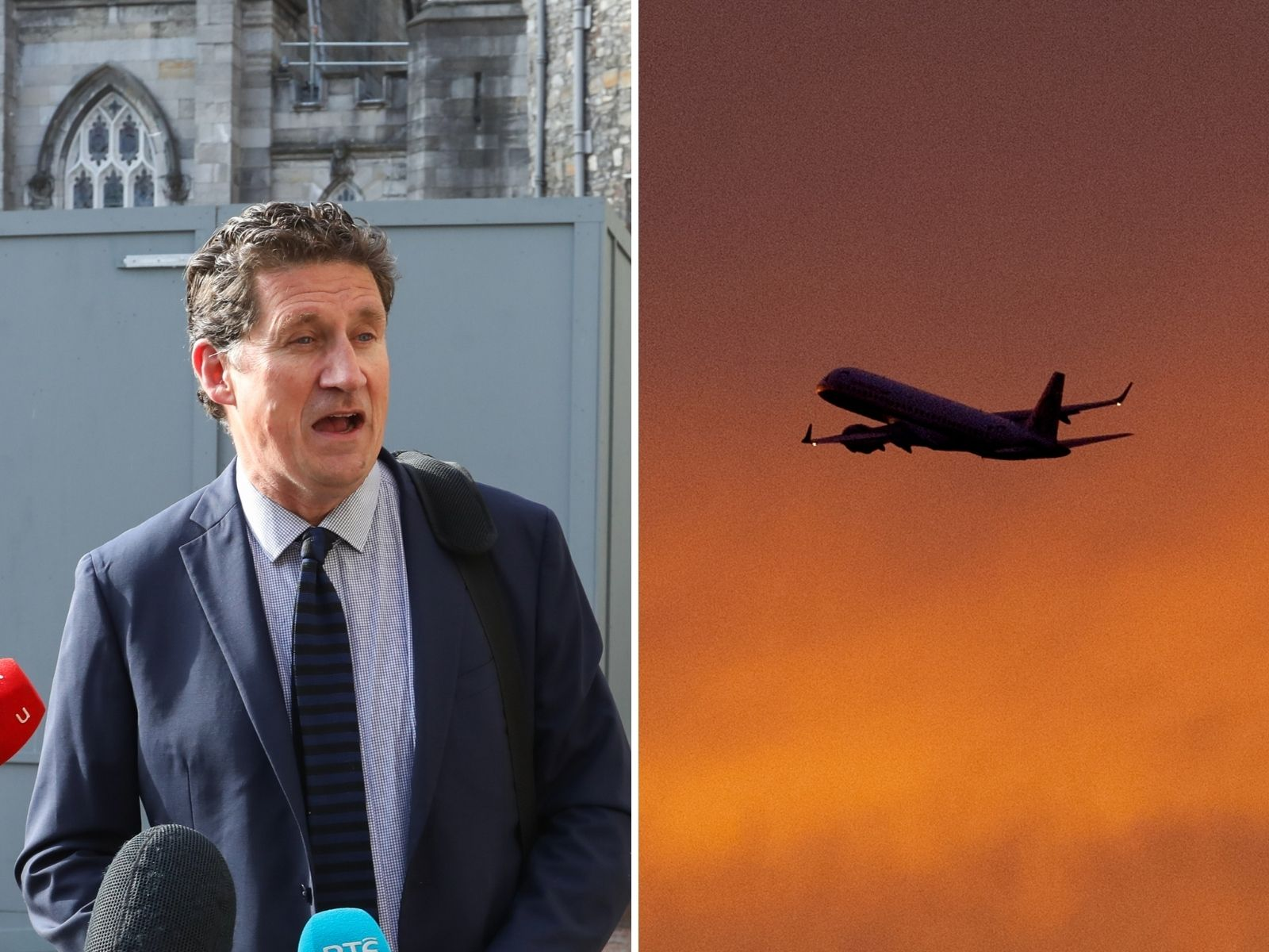 Composite image shows Transport Minister Eamon Ryan at Dublin Castle ahead of a Cabinet meeting and an aircraft taking off from Berlin's Tegel Airport in Germany in 2013