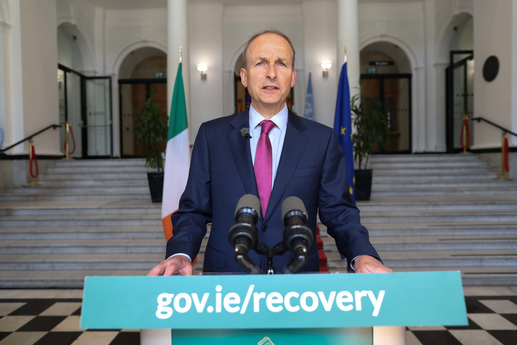 Taoiseach Michael Martin addressing the nation at Government Buildings