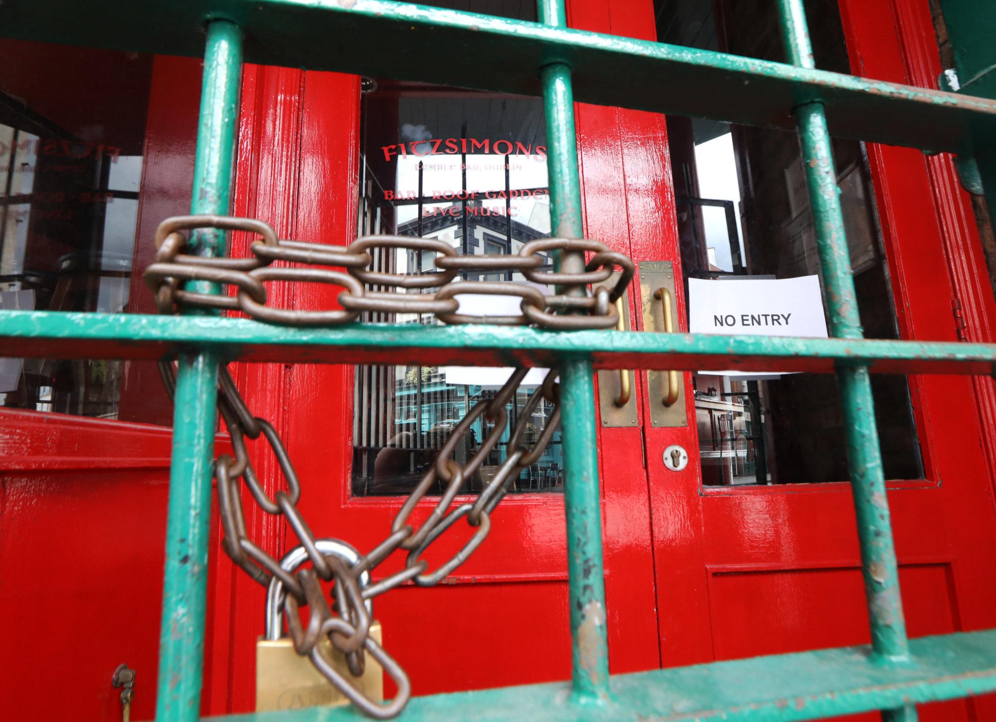 The locked gates at the Fitzsimons pub in Temple Bar Dublin