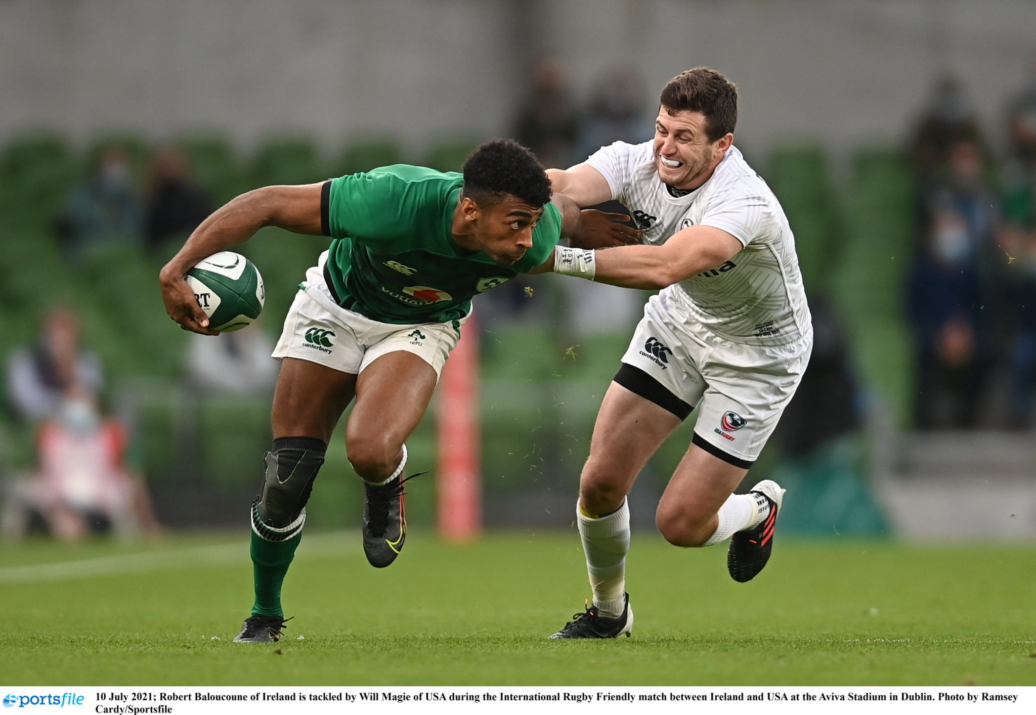 Robert Baloucoune of Ireland drives with the ball