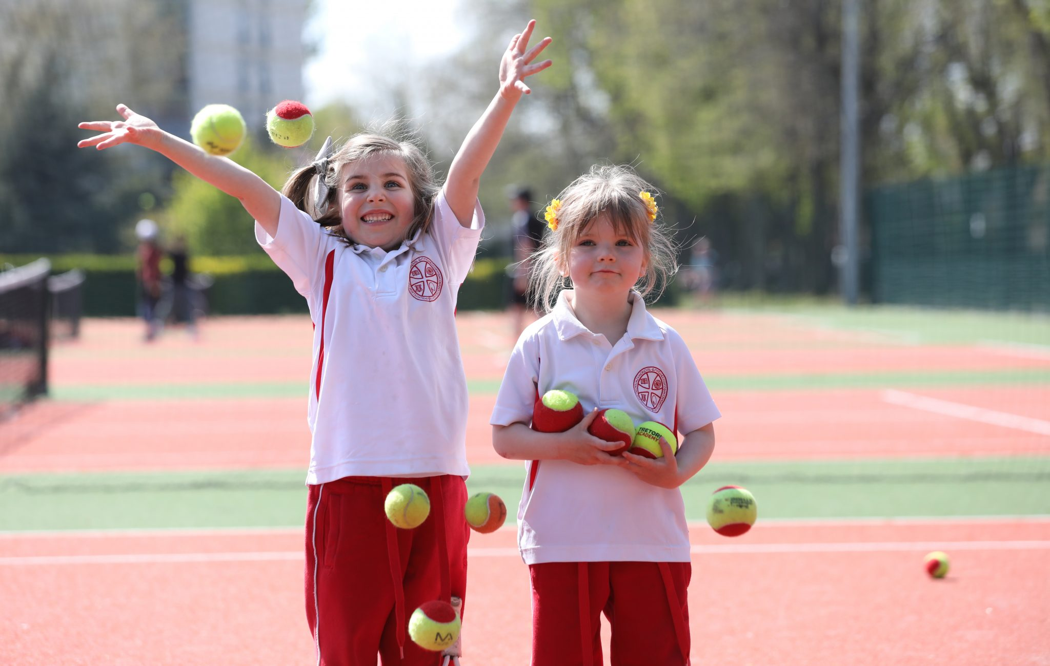 Four-year-olds Lily Ranalow and Margaret Darcy playing tennis at Herbert Park council playgrounds