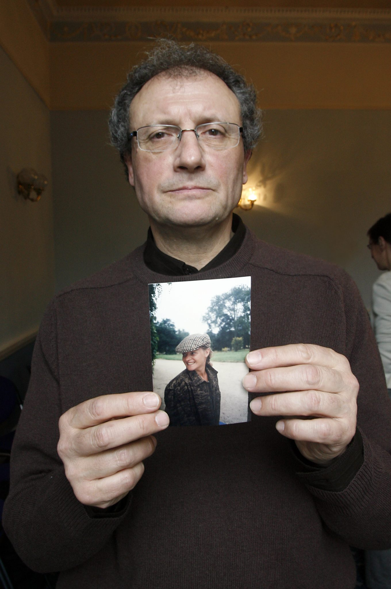 Jean-Pierre Gazeau holds an image of his niece, Sophie Tuscan Du Plantier, at the launch of of ASSOPH - the Association For the Truth About Sophie's Murder - in Dublin in 2008.