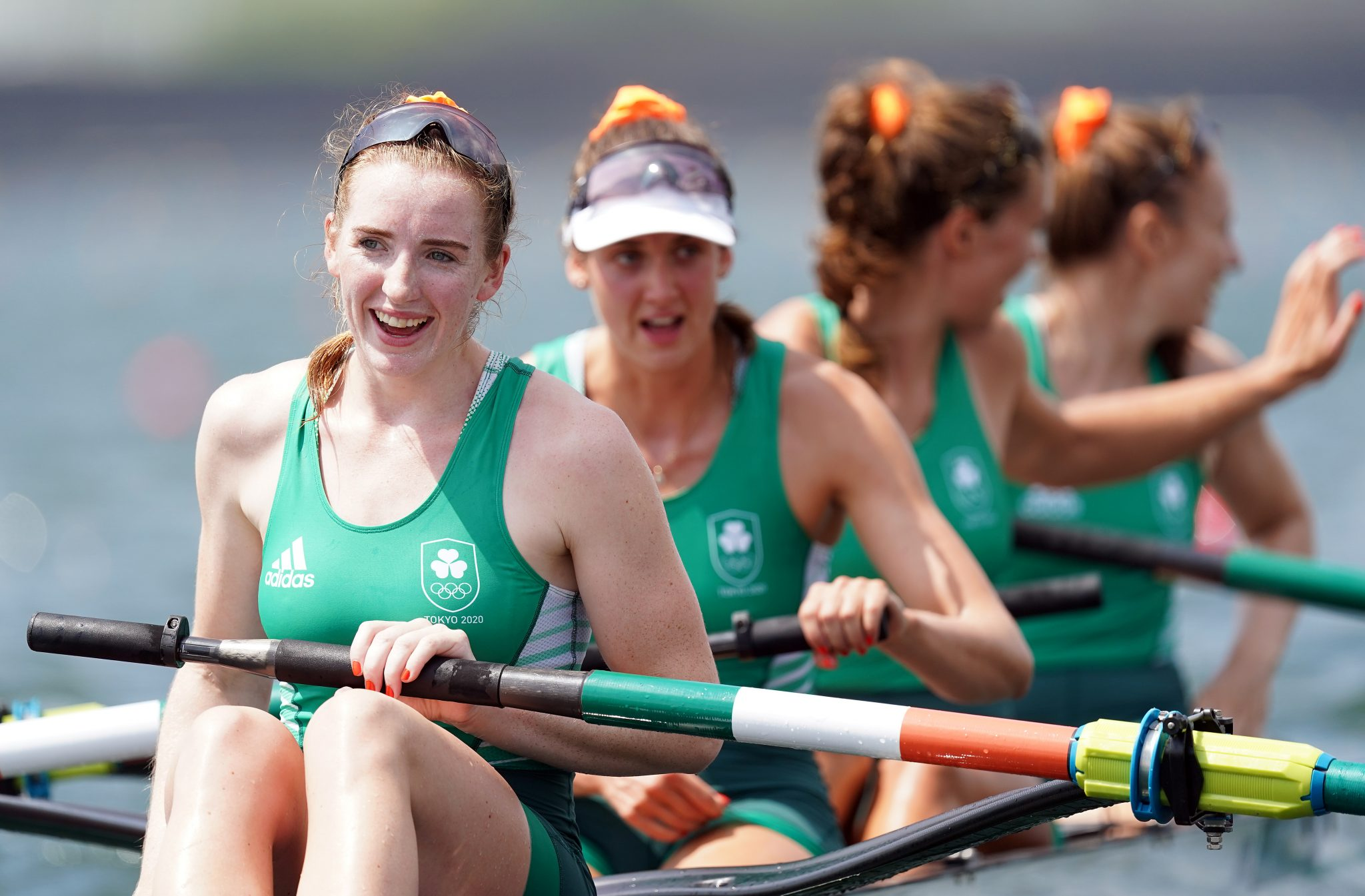 From front to back, Ireland's Emily Hegarty, Fiona Murtagh, Eimear Lambe and Aifric Keogh after picking up bronze at the Tokyo 2020 Olympic Games